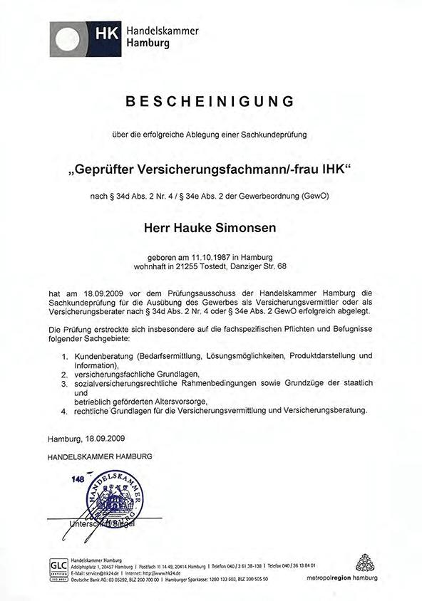Zeugnis IHK Versicherungsfachmann Hauke Simonsen